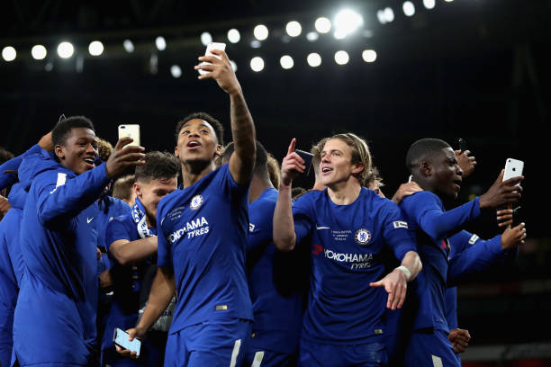 Juan Castillo of Chelsea and Conor Gallagher of Chelsea celebrates after winning the FA Youth Cup Final after the FA Youth Cup Final, second leg...
