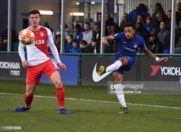 Juan Castillo of Chelsea during the Chelsea FC U19 v AS Monaco U19 UEFA Youth League match at Chelsea Training Ground on February 19 2019 in Cobham...