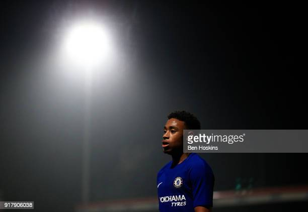 Juan Castillo of Chelsea looks on during the FA Youth Cup match between Tottenham Hotspur and Chelsea at The Lamex Stadium on February 13 2018 in...