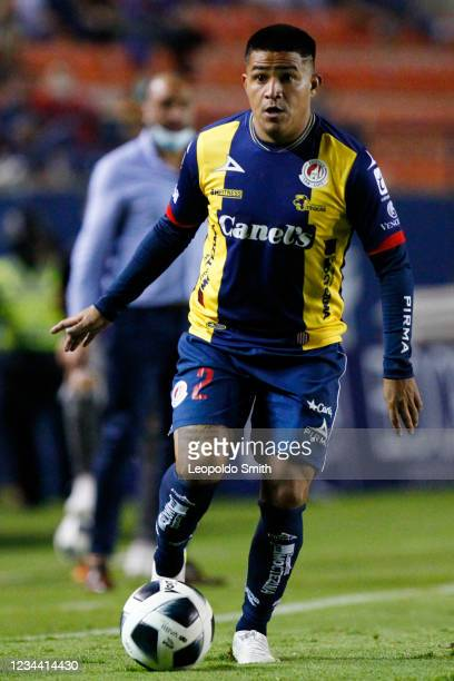 Juan Castro of Atletico San Luis drives the ball during the second-round match against Queretaro in the Torneo Grita Mexico A21 Liga MX at Estadio...