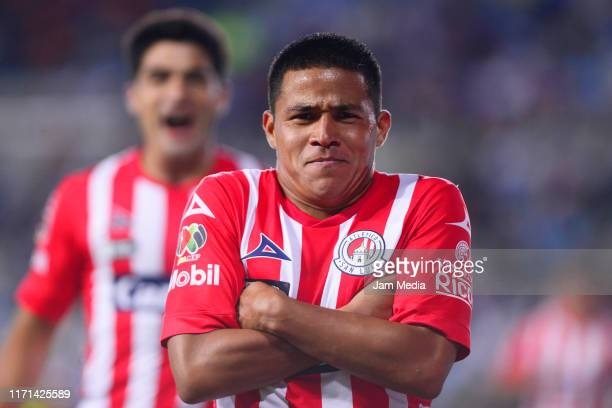 Juan Castro of San Luis celebrates after scoring the first goal of his team during the 8th round match between Pachuca and Atletico San Luis as part...