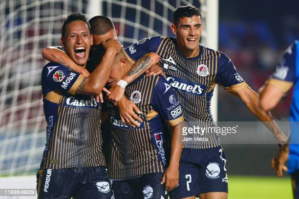 Juan Castro of San Luis celebrates after scoring the second goal of his team during the 6th round match between Veracruz and Atletico San Luis as...