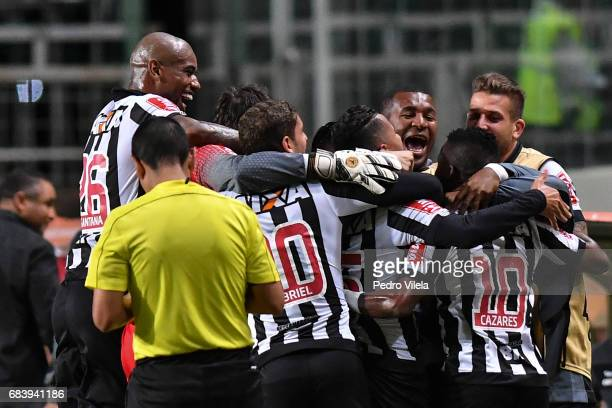 Juan Cazares of Atletico MG celebrates a scored goal against Godoy Cruz during a match between Atletico MG and Godoy Cruz as part of Copa Bridgestone...