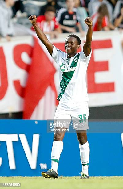 Juan Cazares of Banfield celebrates after scoring the second goal of his team during a match between Estudiantes and Banfield as part of sixth round...
