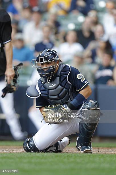 Juan Centeno of the Milwaukee Brewers fields the baseball during the game against the Los Angeles Dodgers at Miller Park on May 07 2015 in Milwaukee...