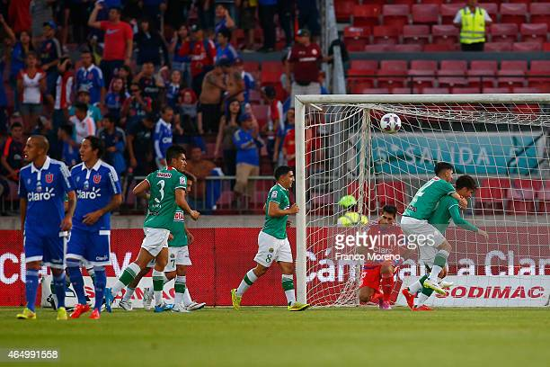 Juan Cornejo of Audax Italiano celebrates after scoring the first goal of his team against U de Chile during a match between U de Chile and Audax...