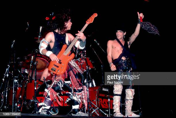 Juan Croucier, left, and Stephen Pearcy of Ratt perform on stage at the Milwaukee Arena in Milwaukee, Wisconsin, November 5, 1984.