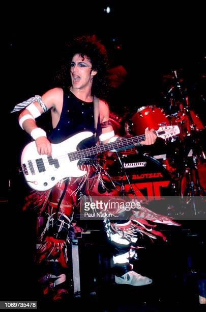 Juan Croucier of Ratt performs on stage at the Milwaukee Arena in Milwaukee, Wisconsin, November 5, 1984.