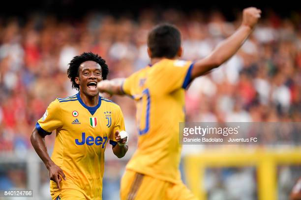 Juan Cuadrado celebrates 23 goal during the Serie A match between Genoa CFC and Juventus at Stadio Luigi Ferraris on August 26 2017 in Genoa Italy