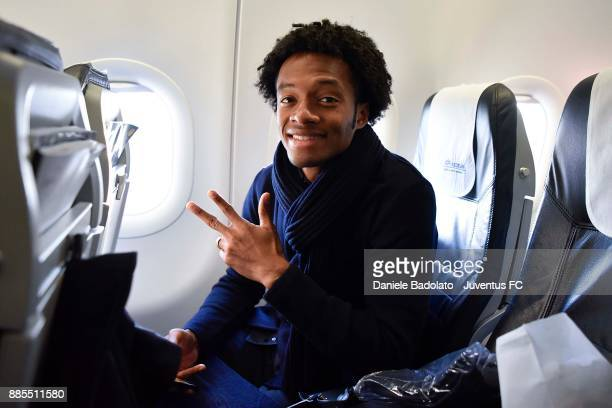 Juan Cuadrado during a Juventus Travel to Athens ahead of the UEFA chanpions League match versus Olimpiacos at on December 4 2017 in Turin Italy