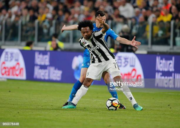 Juan Cuadrado during serie A match between Juventus v Napoli in Turin on April 22 2018