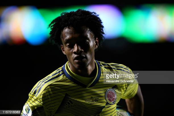 Juan Cuadrado of Colombia in action during the Copa America Brazil 2019 group B match between Colombia and Qatar at Morumbi Stadium on June 19 2019...