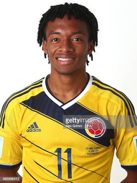 Juan Cuadrado of Colombia poses during the official FIFA World Cup 2014 portrait session on June 9 2014 in Sao Paulo Brazil