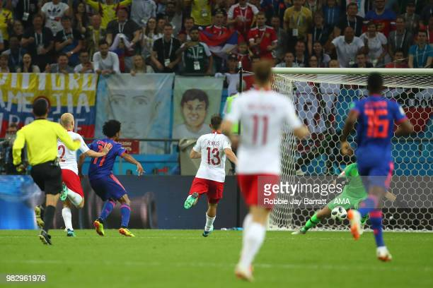 Juan Cuadrado of Colombia scores a goal to make it 03 during the 2018 FIFA World Cup Russia group H match between Poland and Colombia at Kazan Arena...