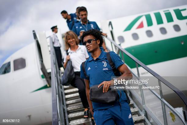 Juan Cuadrado of Juventus arrives on August 4 2017 in London United Kingdom