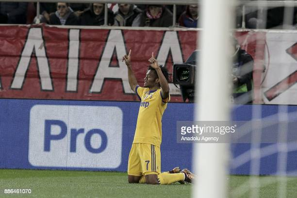 Juan Cuadrado of Juventus celebrates after scoring a goal during the UEFA Champions League soccer match between Olympiacos FC and Juventus at...