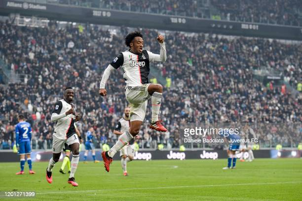 Juan Cuadrado of Juventus celebrates after scoring the goal of 2-0 during the Serie A match between Juventus and Brescia Calcio at Allianz Stadium on...