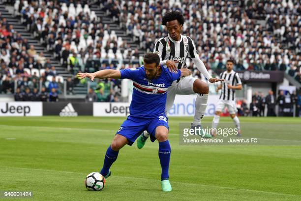 Juan Cuadrado of Juventus competes for the ball during the serie A match between Juventus and UC Sampdoria at Allianz Stadium on April 15 2018 in...