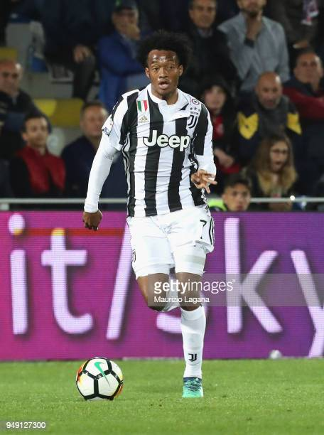 Juan Cuadrado of Juventus during the serie A match between FC Crotone and Juventus at Stadio Comunale Ezio Scida on April 18 2018 in Crotone Italy