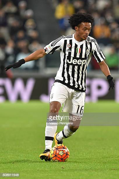 Juan Cuadrado of Juventus FC in action during the Serie A match between Juventus FC and Genoa CFC at Juventus Arena on February 3 2016 in Turin Italy
