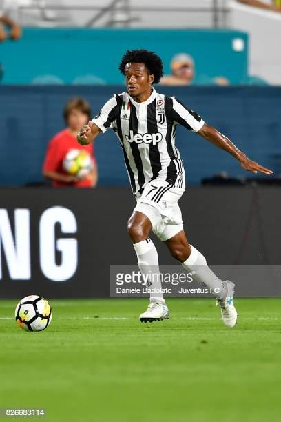 Juan Cuadrado of Juventus in action during the International Champions Cup 2017 match between Paris Saint Germain and Juventus at Hard Rock Stadium...