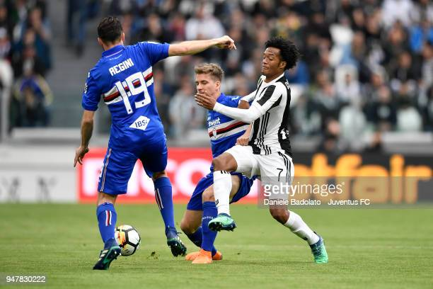 Juan Cuadrado of Juventus in action during the serie A match between Juventus and UC Sampdoria at Allianz Stadium on April 15 2018 in Turin Italy