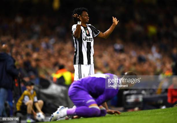 Juan Cuadrado of Juventus reacts during the UEFA Champions League Final between Juventus and Real Madrid at National Stadium of Wales on June 3 2017...