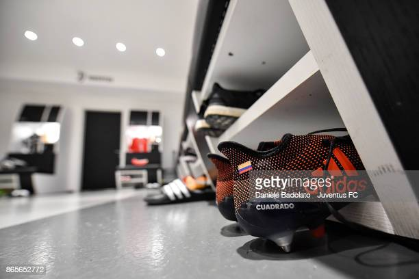 Juan Cuadrado shoes during the UEFA Champions League group D match between Juventus and Sporting CP at Juventus Stadium on October 18 2017 in Turin...