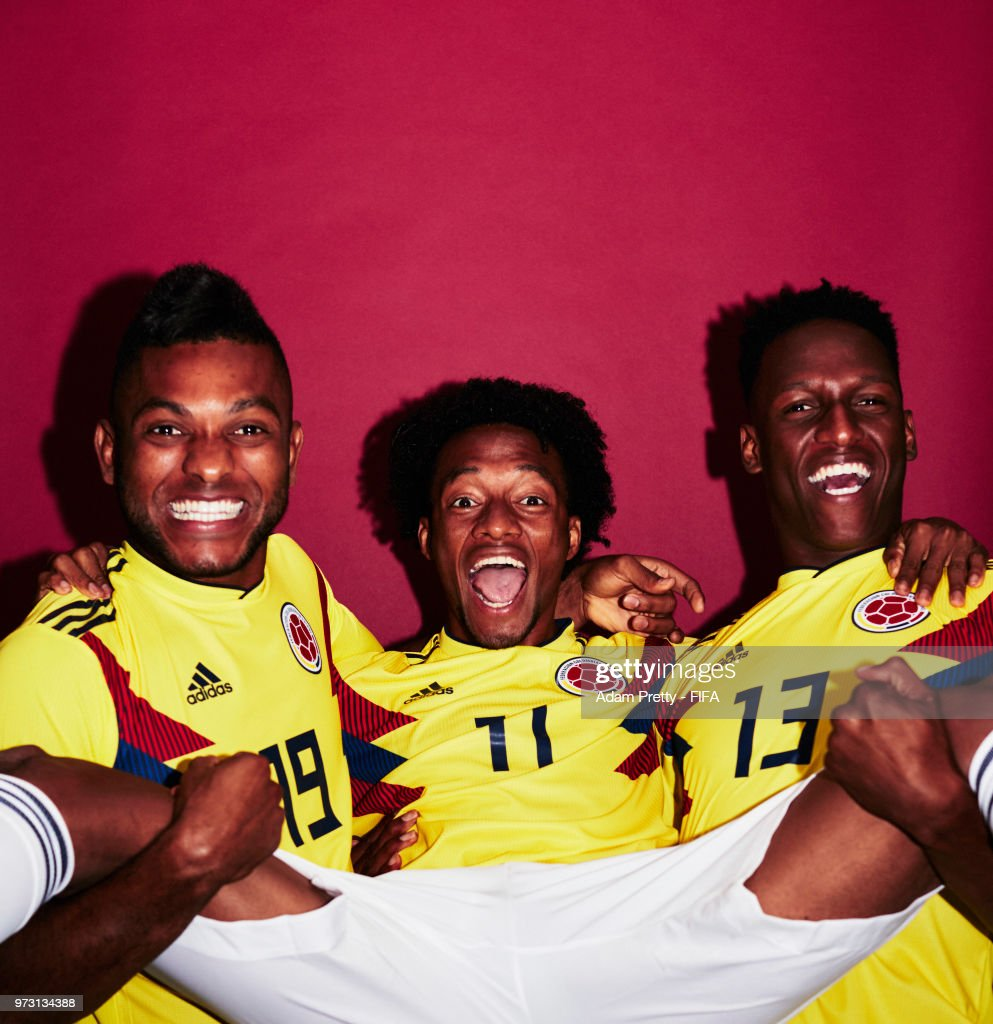Juan Cuadrado, Yerry Mina and Miguel Borja of Colombia pose for a portrait during the official FIFA World Cup 2018 portrait session at Kazan Ski Resort on June 13, 2018 in Kazan, Russia.