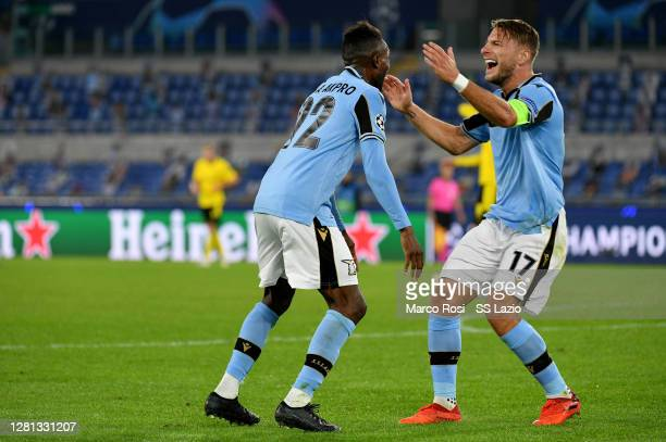 Juan Daniel Akpa Akpro of SS Lazio celebrate a third goal with his team mates during the UEFA Champions League Group F stage match between SS Lazio...
