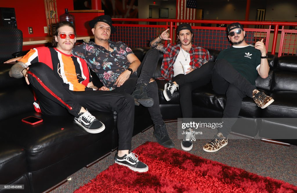 Juan David M. Castano, Juan David Huertas Clavijo, Pablo Mejia Bermudez and David Escobar Gallego of Piso21 visit The Enrique Santos Show At I Heart Latino Studio on February 21, 2018 in Miramar, Florida.
