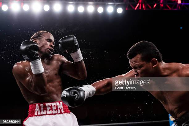 Juan De Angel punches Immanuwel Aleem during the third round of the super middleweight fight at MGM National Harbor on May 19 2018 in Oxon Hill...
