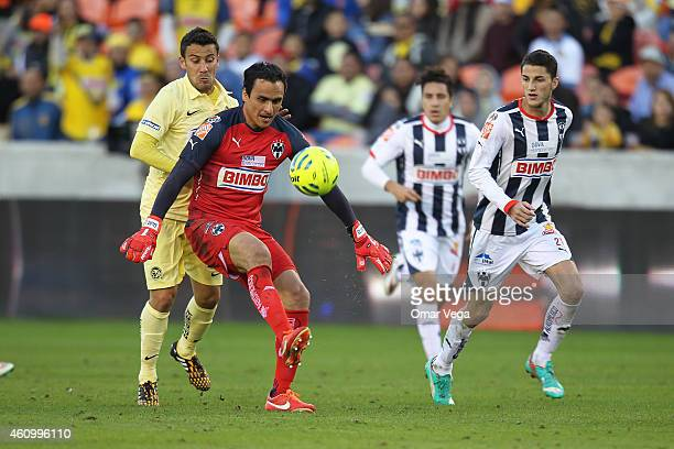Juan de Dios Ibarra goalkeeper of Monterrey in action during a friendly match between America and Monterrey at BBVA Compass Stadium on January 03...