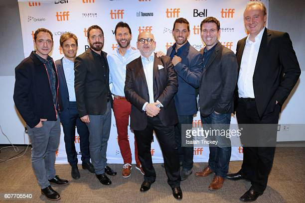 Juan de Dios Larrain Gael Garcia Bernal Pablo Larrain Jonathan King Luis Gnecco Brad Navin Paul Davidson and Peter Danner pose before the screening...