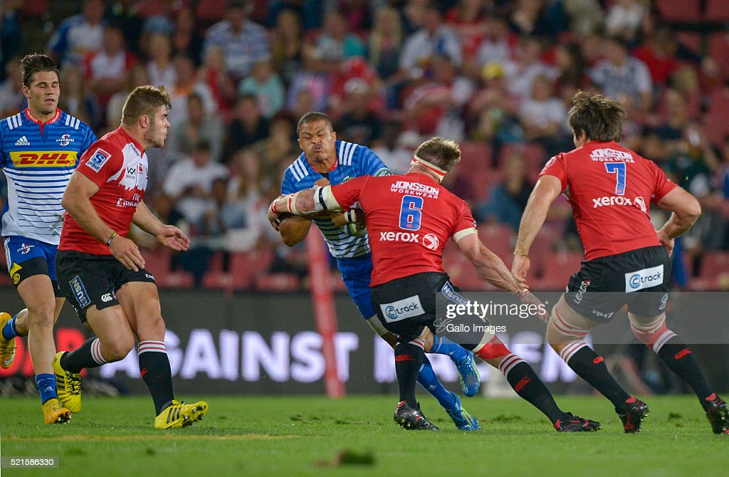 Juan de Jongh of the Stormers is tackled by Jaco Kriel of the Lions during the 2016 Super Rugby match between Emirates Lions and DHL Stormers at Emirates Airline Park on April 16, 2016 in Johannesburg, South Africa.