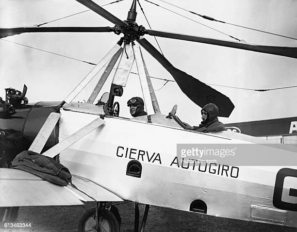 Juan de la Cierva and passenger Henri Bouche prepare to cross the English Channel to Calais France in Cierva's 'Autogiro' It will be the world's...