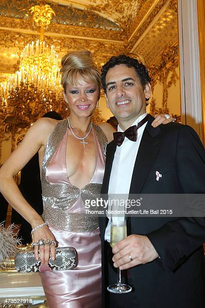 Juan Diego Florez and Julia Trappe attend the after show party after the Red Ribbon Celebration Concert United in Difference at Burgtheater on May 15...