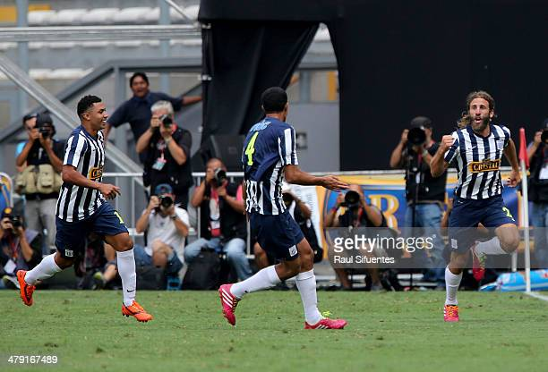 Juan Diego Gonzales Vigil of Alianza Lima celebrates after scoring the opening goal during a match between Sporting Cristal and Alianza Lima as part...