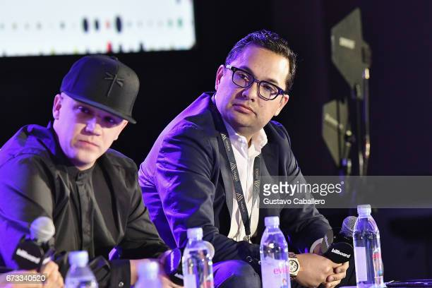 Juan Diego Medina and Jorge Juarez speak at the Billboard Latin Conference 2017 at Ritz Carlton South Beach on April 26 2017 in Miami Beach Florida
