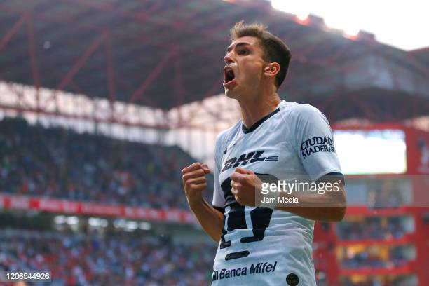 Juan Dinenno of Pumas celebrates after scoring the second goal of his team during the 6th round match between Toluca v Pumas UNAM as part of the...