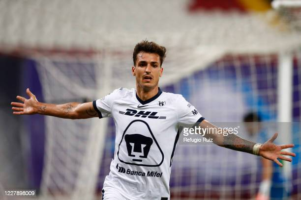 Juan Dinenno of Pumas celebrates after scoring the second goal of his team during the 2nd round match between Atlas and Pumas UNAM as part of the...