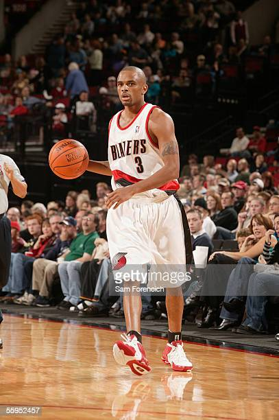 Juan Dixon of the Portland Trail Blazers takes the ball down the court during a game against the LA Clippers on October 18 2005 at the Rose Garden...