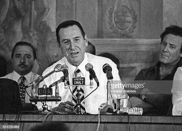 Juan Domingo Peron three times president of Argentina speaks before trade union leaders Peron died on July 1 1974