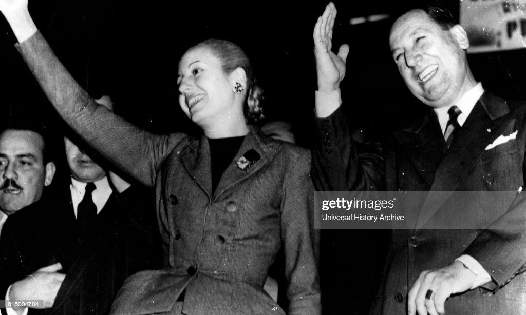 Juan Domingo Peron with his wife Evita Peron. : News Photo