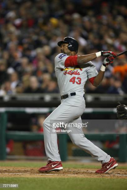 Juan Encarnacion of the St. Louis Cardinals bats during Game One of the 2006 World Series on October 21, 2006 at Comerica Park in Detroit, Michigan....