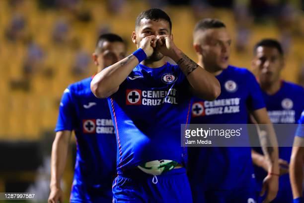 Juan Escobar of Cruz Azul celebrates after scoring the first goal of his team during the quarterfinals first leg match between Tigres UANL and Cruz...