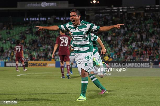 Juan Escoboza of Santos celebrates a scored goal during a match against Colorado of US as part of the Concacaf Champions League 20112012 at Corona...