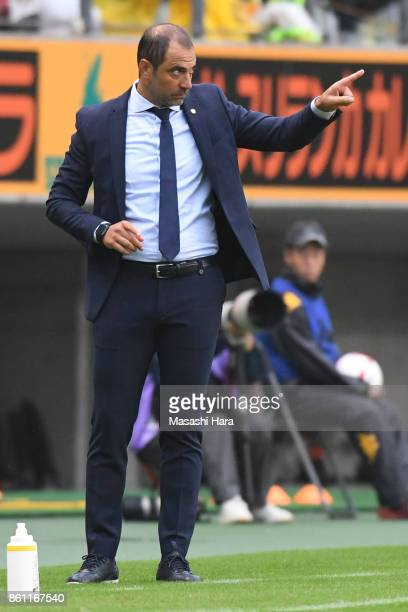 Juan Esnaidercoach of JEF United Chiba looks on during the JLeague J2 match between JEF United Chiba and Matsumoto Yamaga at Fukuda Denshi Arena on...