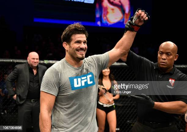 Juan Espino of Spain celebrates after his submission victory over Justin Frazier during The Ultimate Fighter Finale event inside The Pearl concert...