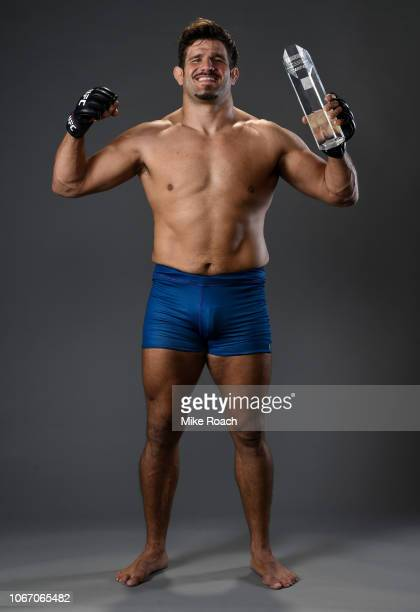 Juan Espino of Spain poses for a portrait backstage after his victory over Justin Frazier during The Ultimate Fighter Finale event inside The Pearl...